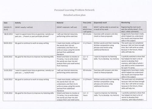 p l p n detailed action plan